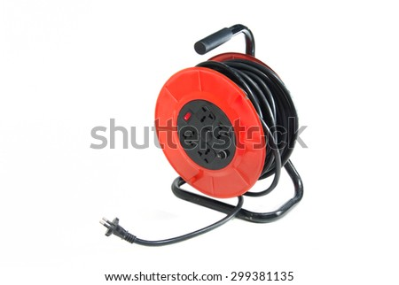 red extension electric cable reel isolated on white background - stock photo