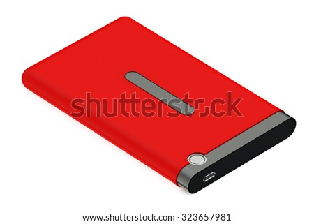 Red External HDD isolated on white background - stock photo