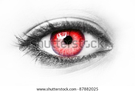Red eye isolated on white - stock photo