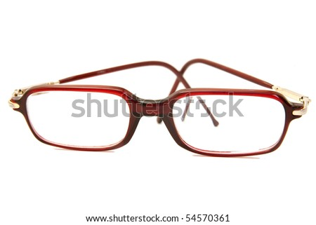 red eyeglass isolated on white - stock photo