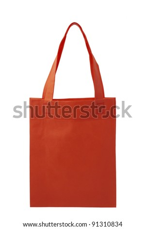 red fabric bag on white background, Isolated - stock photo