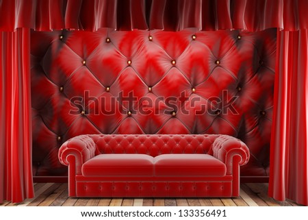 red fabric curtain with sofa