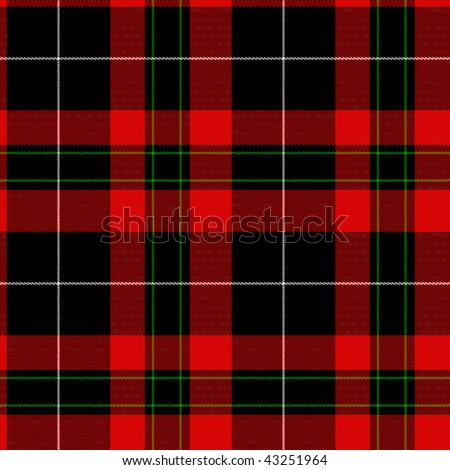 Red fabric tartan design in red, green, black suited for Christmas is a seamless background. - stock photo