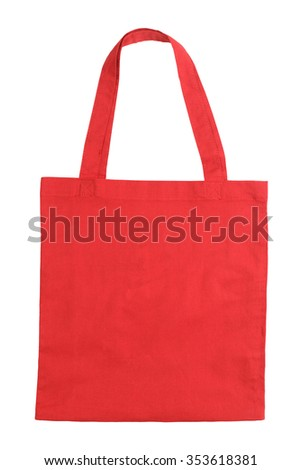 Red fabric tote bag isolated on white background - stock photo