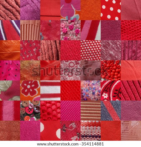 RED fabrics & other materials patchwork - 49 pictures - stock photo