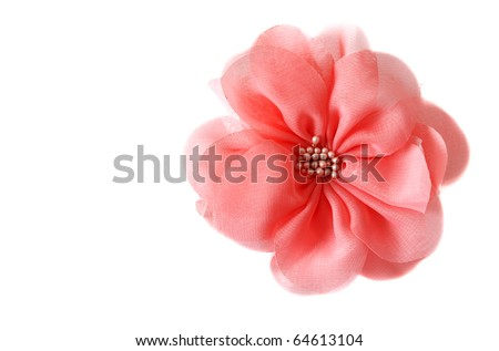 Red fabrics rose insulated on white background - stock photo