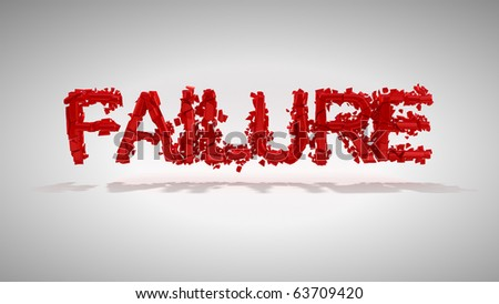 Red Failure word destruction over grey background - stock photo
