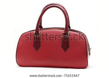 red fake leather woman bag - stock photo
