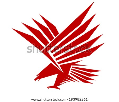 Red falcon for mascot or tattoo design. Vector version also available in gallery - stock photo