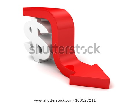 Red Fall Arrow Dollar Currency Symbol. Financial Business Concept 3D Render Illustration - stock photo
