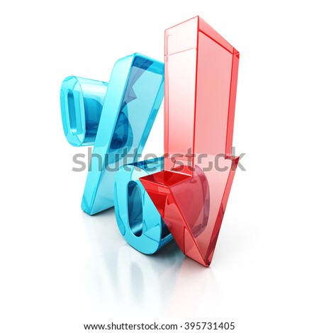 Red Fall Arrow Interest Percent Symbol. Financial Business Concept 3D Render Illustration - stock photo