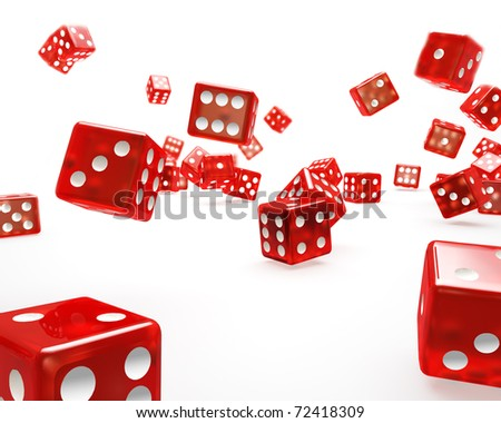 Red falling Dice - stock photo