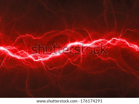 Red fantasy lightning - stock photo