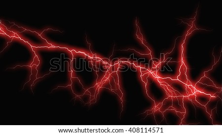 Red fantasy lightning sparks on a black background - stock photo