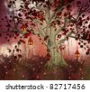 Red fantasy tree with lanterns - stock photo