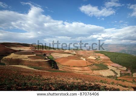 red farmland,dongchuan,yunnan,china - stock photo