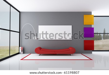 red fashion couch in a minimalist interior - rendering- the image on background is a my photo - stock photo