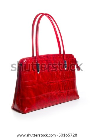 Red Fashion womans handbag on a white background