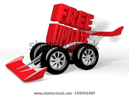 Red  fast upgrade 3d graphic with super free update symbol  on a race car - stock photo