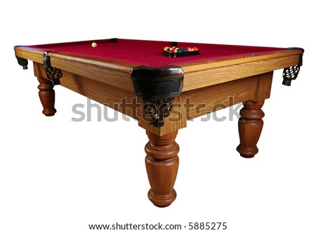 Red Felt Pool table isolated on white.