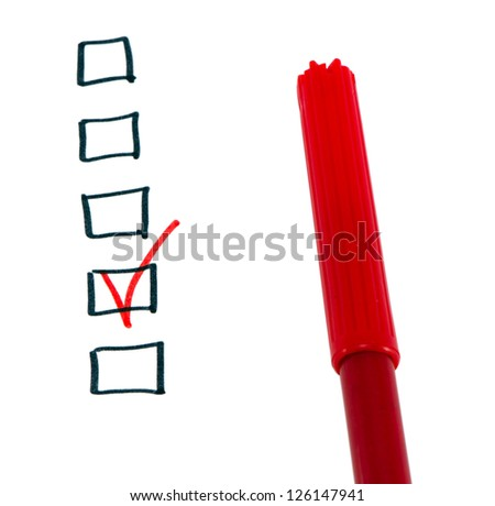 Red felt tip felt-tip pen and one black checkbox checked with tick. - stock photo