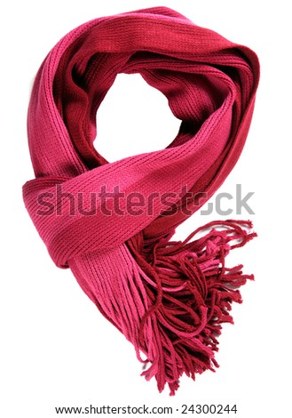 Red female accessorie scarf isolated on white background - stock photo
