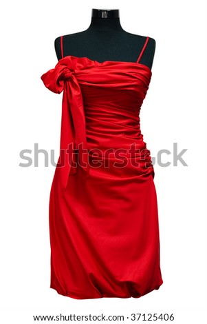 red female dress on a white background - stock photo
