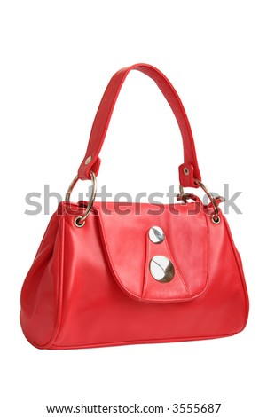 red female handbag isolated on white