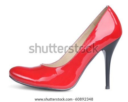 Red female high heels shoe isolated on withe background
