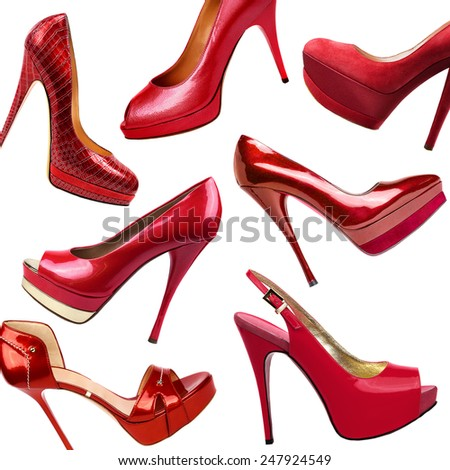 Red female shoes background - stock photo
