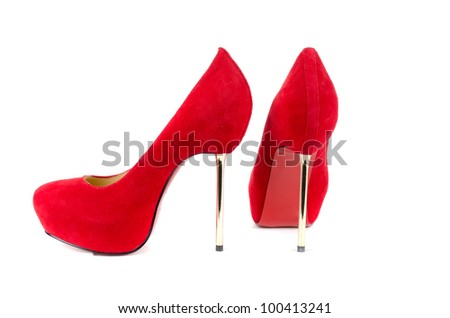 red female shoes on a white background - stock photo