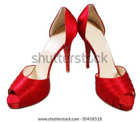red female shoes on high heel on white background isolated with clipping path