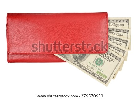 Red female wallet with dollars isolated on white background. With clipping path - stock photo