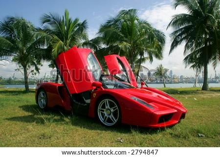 Red Ferrari Enzo in Singapore - stock photo