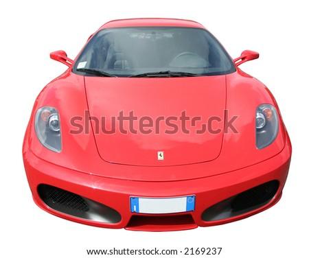 Red Ferrari 430 with Italian plate - stock photo
