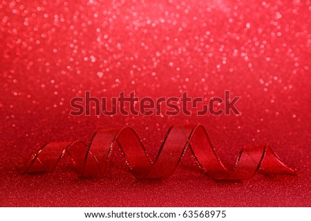 Red festive background with ribbon - stock photo