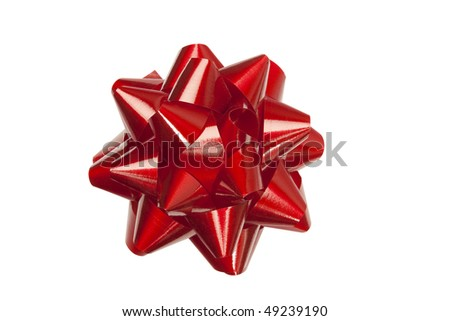 Red festive bow, clipping path included - stock photo