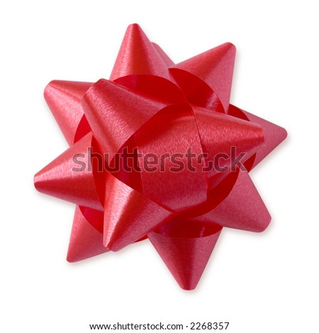 Red Festive Bow (with clipping path for easy background removing if needed) - stock photo