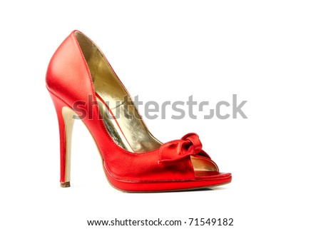 Red fetish women shoes isolated on white background. Women's accessories. - stock photo