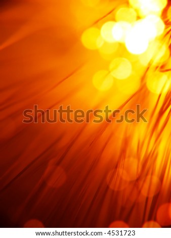 red fiber optics strands close-up - stock photo