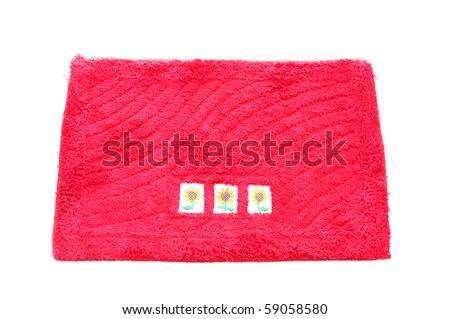 Red Fibric Doormat  With Flower Design - stock photo