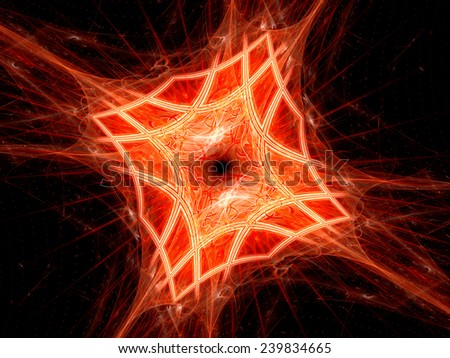 Red fiery mesh, computer generated abstract background - stock photo