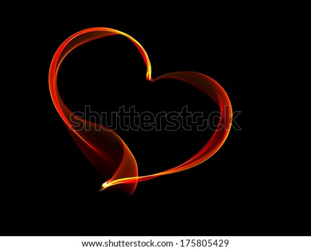Red fiery ribbon heart illustration on black background, the concept of love - stock photo