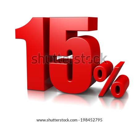 Red Fifteen Percent Number on White Background 3D Illustration - stock photo