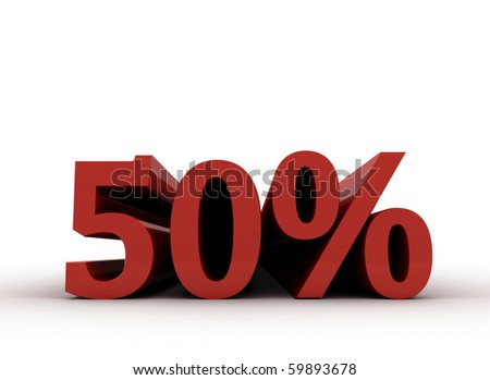 Red fifty percent, isolated on white background. 50% - stock photo