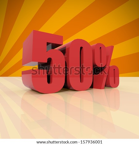 Red fifty percent off, Discount 50% on orange background - stock photo