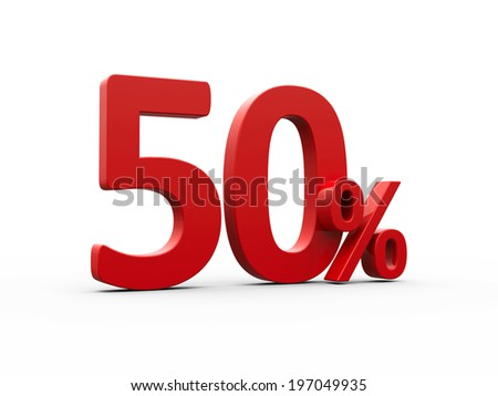 Red fifty percent sign isolated on white background, three-dimensional rendering - stock photo