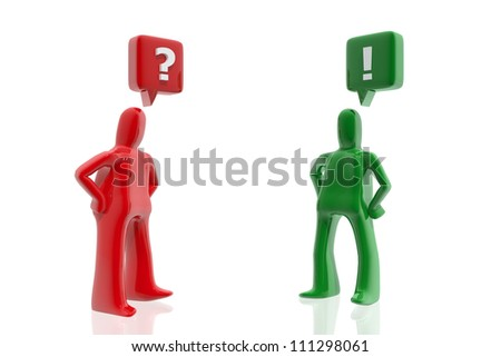 Red figure asking and green figure answering