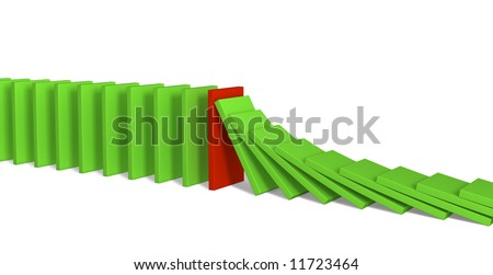Red figure of a dominoes, holding falling green figures. Objects over white - stock photo