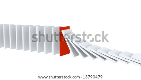 Red figure of a dominoes, holding falling other figures. Object over white - stock photo